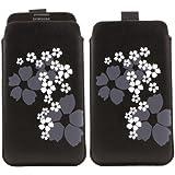 iTALKonline SCHWARZ Weiß BLUME Qualität Rutsch Pouch Case Schutzhülle mit Pull Tab für Samsung N7100 Galaxy Note 2