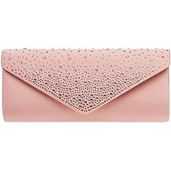 Caspar TA422 Bolso de Mano Fiesta para Mujer Clutch Largo de Satén con Estrás, Color:rosa antiguo, Talla:Talla Única