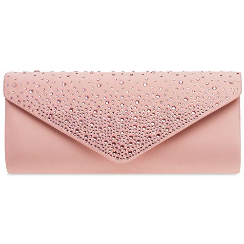 CASPAR TA422 elegante Damen Baguette Envelope Clutch Tasche mit Strass, Farbe:altrosa;Größe:One Size