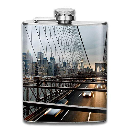 dfegyfr New York Bridge City Fashion Portable 304 Stainless Steel Leak-Proof Alcohol Whiskey Liquor Wine 7OZ Pot Hip Flask Travel Camping Flagon (Bridge City Bulk)