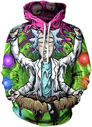 Chaos World Herren Kapuzenpullover Cartoon 3D Druck Grafisches Pullover Langarm Sweatshirt Mit Taschen (Sitzen,S)