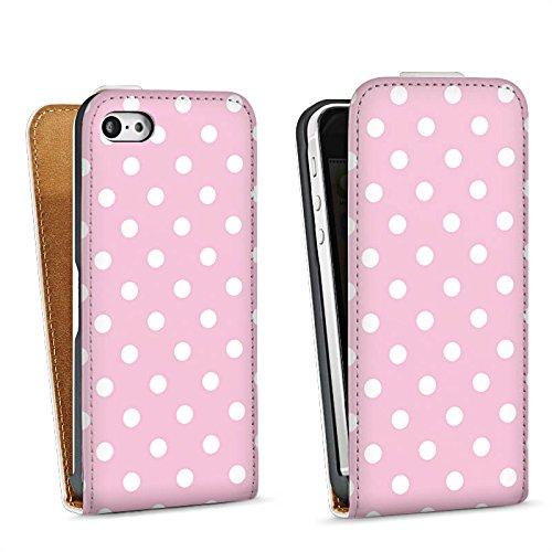 Apple iPhone 5s Housse étui coque protection Petits points Motif Motif Sac Downflip blanc