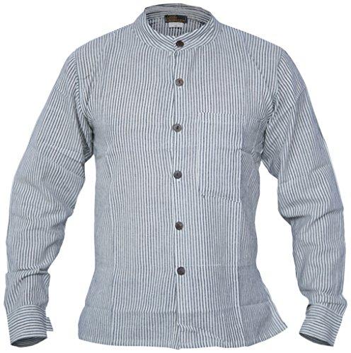 Little Kathmandu Herren Natürliche Baumwolle Gestreift Button Down Grandad Collarless Freizeit Casual Shirts Hemden Tops Kurtas, Grau - Gris - Gris clair, 3XL (Kurta Gestreiften)