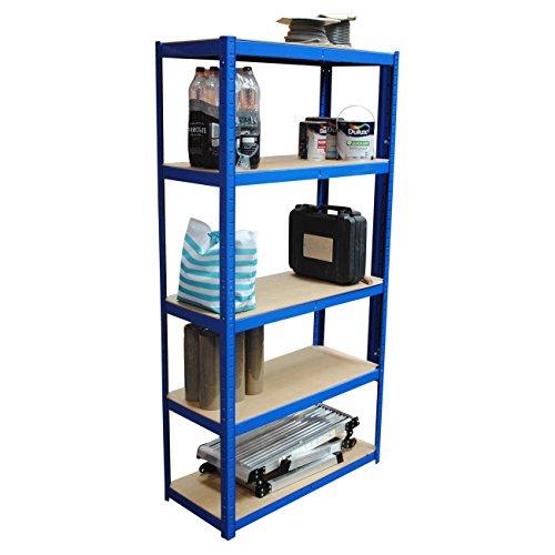 Garage-Regalen, 180cm x 90cm x 40cm, 5Etagen, 175kg pro Regal, gesamte Tragbarkeit 875kg blau (Garage-rack-system)