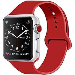ZRO para Apple Watch Correa, Silicona Suave Reemplazo Sport Banda para 42mm iWatch Serie 3/ Serie 2/ Serie 1, Talla M/L, Rojo