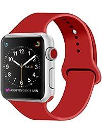 ZRO para Apple Watch Correa, Silicona Suave Reemplazo Sport Banda para 42mm iWatch Serie 3/ Serie 2/ Serie 1, Talla S/M, Rojo