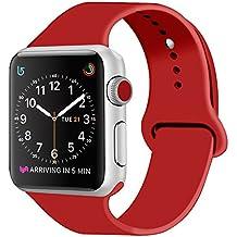 ZRO pour Apple Watch Bracelet, Silicone Souple Remplacement Sport Bande de Montre pour 42mm iWatch Série 3/ Série 2/ Série 1, Taille M/L, Rouge