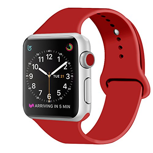 ZRO Smart Watch Correa, Silicona Suave Reemplazo de Banda Sport Band para Apple iWatch Serie 2/ Serie 1 38mm M/L, Rojo