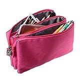 Sumnacon 3 Couches Multi-Fonctions Trousse de crayon, Trousse de maquillage ou Sac à main etc. (rose)