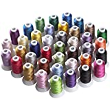 Simthreads 40 Couleurs Polyester broder pour Brother Machine, 500 mètres / bobine