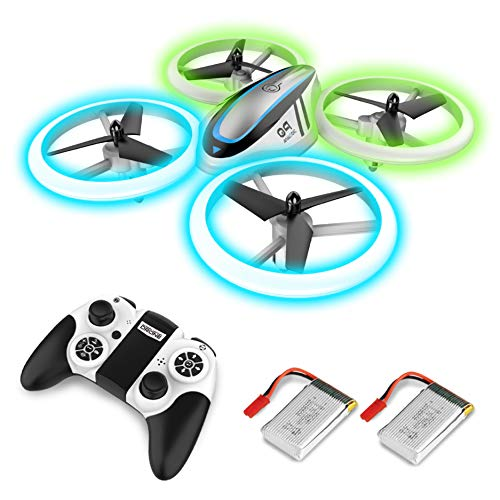 Q9 RC Drohne Drone mit Höhehalten und Blau&Grün Nachtlicht,Quadrocopter mit 2 Akkus,20 Minuten Flugzeit und Propeller voll zu schützen,Spielzeug drohnen für Kinder und Anfänger