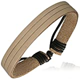 Zense Herren-Armband, verstellbar, Wischblatt ZB0217 echtem Leder, braun