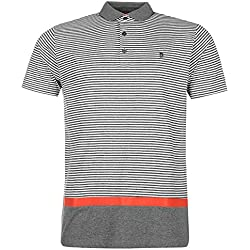 Pierre Cardin Hombre Polo de Rayas EN Color 100% Cotton con Bordado de Firma (Medium, Charcoal/White)