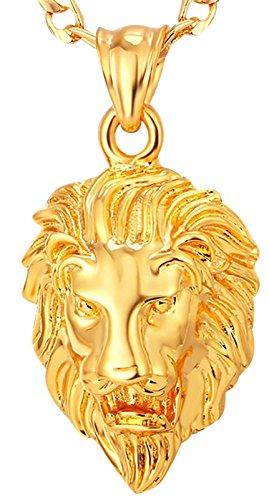 Veuer Schmuck für Herren Gold Vergoldet Löwe Löwen Kopf Halskette Kette Man´s Hip Hop Geschenk zu Weihnachten für Männer, Freund, Ehe-Mann