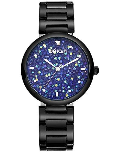 Alienwork orologio donna acciaio inossidabile nero analogico quarzo blu impermeabile brillanti elegante classico