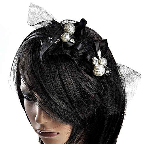 Femmes Maille Grand Perle , Stones Enveloppé Mariage Cheveux Métal Serre-tête De Course Ascot Noir