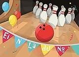 Sophies Kartenwelt 12 Einladungskarten zum Kindergeburtstag Bowling // Geburtstagseinladungen Einladungen Geburtstag Kinder Pin Jungen Mädchen Bowlingkugel Karten Set Kegeln