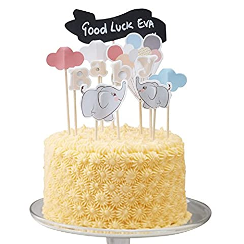 Ginger Ray Vintage Baby Elephant Cake Decoration Topper Kit with Chalkboard Sign - Little One