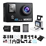 WiMiUS - La technologie change notre vie! L'écran d'avant peut afficher l'état de la caméra sportive, soit l'enregistrement, soit la charge à part de l'écran arrière de 2 pouces, c'est pratique de l'opérer. Vidéo de Ultra 4K@30fps, 2,7k@30fps, 1080p@...