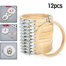 KING DO WAY 12PCS Handheld Bamboo Embroidery Hoops Frame Needlework Cross Stitch Machine Tools Set Ring Sewing 10cm