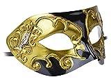 Kapmore Masque Carnaval Vénitien Mascarade Masque Mardi Gras Masque Vintage Homme (gold 1)