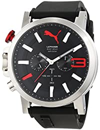 Puma Time Herren-Armbanduhr PU-ULTRASIZE 50 S CHRONO BLACK RED Chronograph Quarz Silikon PU103981001