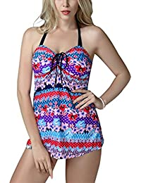 FEOYA - Traje de Baño Bikini de 2 piezas Bañador de Mujer Tallas Grandes Tankinis Elástico Estampado Flores Ropa de Natación para Playa - Violeta Azul Multicolores - Talla XXL 3L 4XL 5XL 6XL