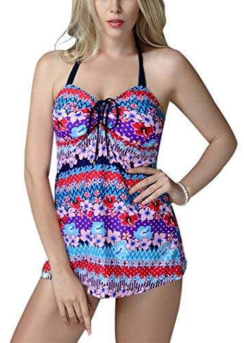 FEOYA - Traje de Baño Bikini de 2 piezas Bañador de Mujer Tallas Grandes Tankinis Estampado Floral...