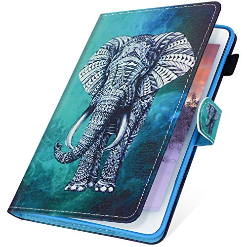 l mit Kindle Fire HD10 2017 Hülle,kompatibel mit Kindle Fire HD10 2015 Hülle Case, Leder Tablet Cover Stand Brieftasche Protective Etui mit Auto Sleep/Wake Funktion,Elefant,EINWEG ()