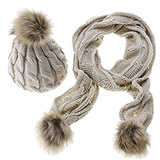 ACMEDE Winter Warm Knitted Thicken Crochet Bobble Pom Beanie Hat Cap and Scarf Set for Women Girls