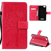 CaseFirst Wiko Lenny 2 Wallet Leather Case with Protective Durable PU Leather Shell Folio flip Cell Phone Cover Bag with Card Slots,Cash Pocket,Hot Pink
