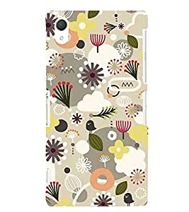 Fiobs Flowers Designs Contrast Patterns Beautiful Designer Back Case Cover For Sony Xperia Z2