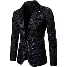 Longra-Uomo Giacca Elegante Vestito da Uomo Slim Fit Cappotto Giacca Blazer  in Paillettes Uomo 4a6701f96fc