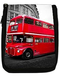 London Double Decker Bus Medium Black Canvas Shoulder Bag - Size Medium