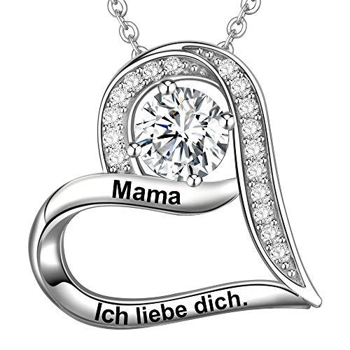 LOVORDS Damen Halskette Gravur 925 Sterling Silber Herz Anhänger mit Kette Mutter Geschenk für Mama