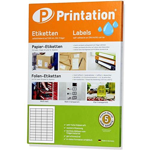 Etiketten 45,7 x 21,2 mm WETTERFEST transparent auf A4 Bogen - 4 x 12 Stück / Seite - 480 Folienetiketten 45,7x21,2 selbstklebend mit Laser Drucker bedruckbar