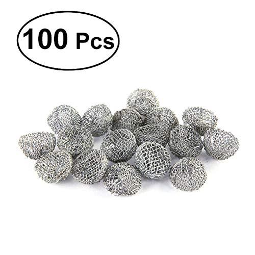 Healifty Tobacco Metallkugel Edelstahl Tabakspfeifensiebe Rauchpfeifenfilter Metallkugelfilter 20 mm 100 Stücke (Silber) -