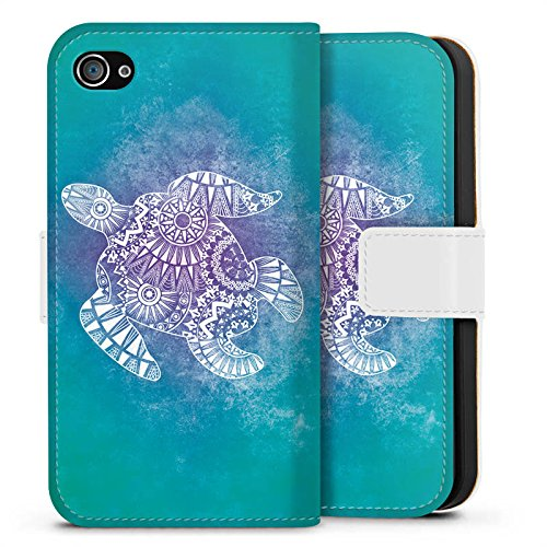 Apple iPhone SE Tasche Hülle Flip Case Mandala Turtle Schildkröte Muster Sideflip Tasche weiß