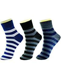 NeskaModa Men's Ankle Socks (Pack of 3) (S336-Men'sAnkleSocks_Blue,Black,Grey_Free Size)