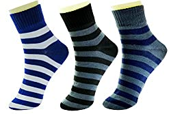 Neska Moda Standard 3 Pair Mens Formal Cotton Rich Striped Ankle Length Socks-Blue,Black,Grey