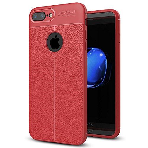 """Coque Apple iPhone 8 Plus (5.5""""), MSVII® Anti-Shock Silicone TPU Souple Coque Etui Housse Case et Protecteur écran Pour Apple iPhone 8 Plus (5.5"""") - Gris JY90124 Rouge"""