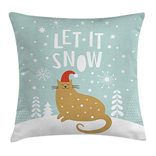 Christmas Throw Pillow Cushion Cover by, Let It Snow Quote Cute Kitty Cat with Santa Claus Hat Snow Graphic, Decorative Square Accent Pillow Case, 18 X 18 Inches, Seafoam Sand Brown White -
