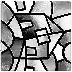 Startonight Cuadro sobre Lienzo en Blanco y Negro Construcción Geométrica, Impresion en Calidad Fotografica Enmarcado y Listo Para Colgar Diseño Moderno Decoración Formato Grande 80 x 80 CM