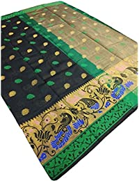 Shree Rajlaxmi Sarees Women's Woven Multicolour Banarasi Cotton Silk Saree With Blouse