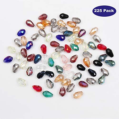 Cuentas Cristal Lagrima 225 Piezas - 15 Colores Variados