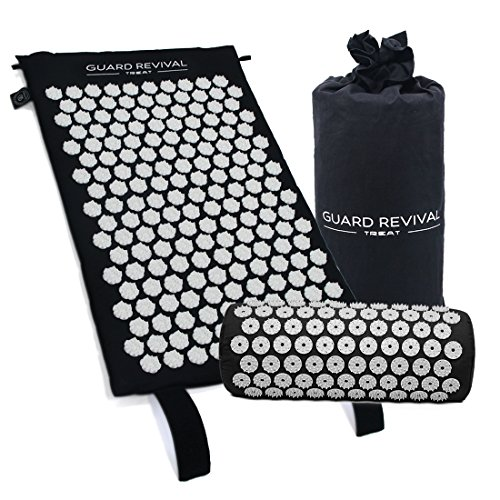 GR Akupressur-Set - Lotus Akupressurmatte + Akupressurkissen - Massagematte zur effektiven Lockerung und Lösung von Verspannungen - Schmerztherapie für Nacken, Rücken und Kopfschmerzen