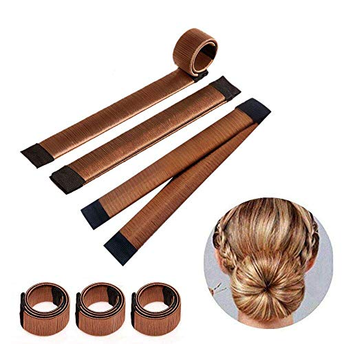 3 pezz accessori capelli ciambelle per chignon hair magic capelli ragazza clip hairstyle ,marrone colore
