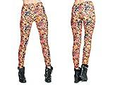 Alsino Leggings Damen Bedruckt Sexy Leggins Ladies mit Print Look Motiv Muster Stretch Legins Hose, wählen:LEG-038 Gelee Bonbons