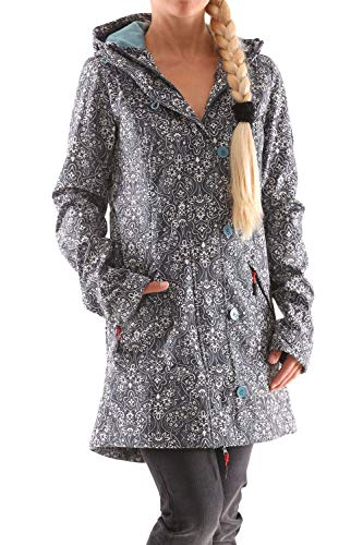 Blutsgeschwister Wild Weather Long Damen Jacke Mantel, Größe:M, Farbe:Grau (Oregon Ornamental)