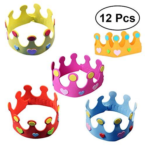 TOYMYTOY Sombrero de la corona del cuarto de niños del sombrero de la corona del cumpleaños de los sombreros DIY del sombrero del partido de 12pcs EVA Party para los cabritos (color al azar)